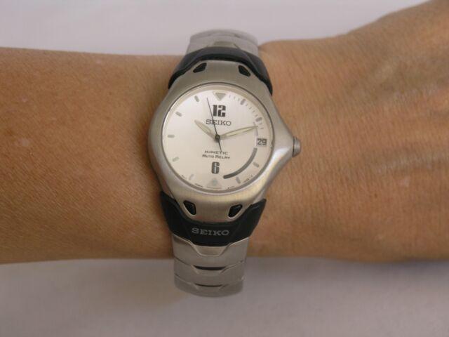 Seiko watches kinetic date auto relay stainless steel case bracelet SMA899 7de2e4b935