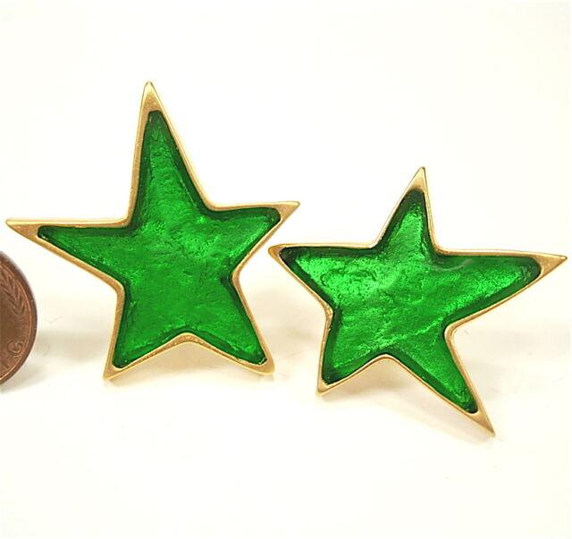 SoHo® Ohrstecker Stern gold Kunstharz grün retro resin Stecker Ohrringe handmade