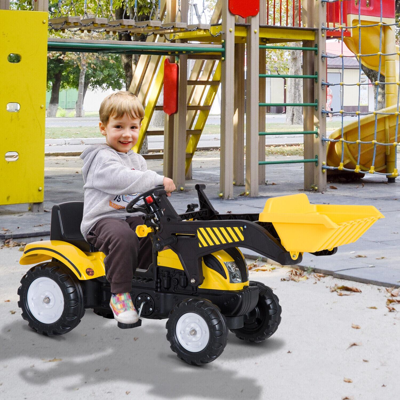 HOMCOM Tretauto Traktor Tretfahrzeug mit Fontlader ab 3 Jahre Kinder Schwarz