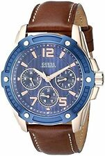 GUESS Men's U0600G3 Casual Sport Blue Face Brown Leather Strap Watch