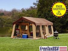 20X10' NEW Camping Brown Instant Family Cabin 2 Room Large Sealed Tent 10 person