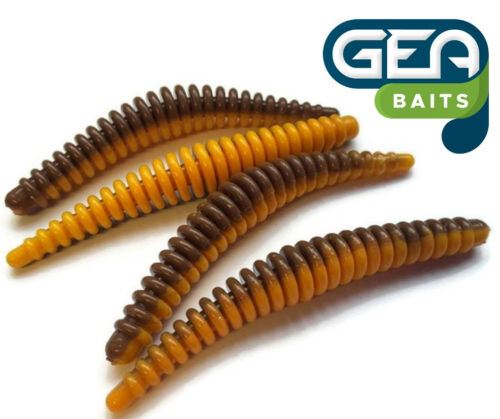 """Floating Ring Worms Brown Orange Fishing Soft Lures Tackle Baits 3.5/"""""""