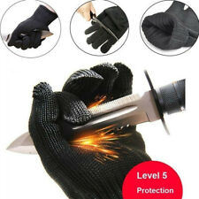 1pair Black Cut Resistant Stainless Steel Working Safety Gloves Anti Cut Protect