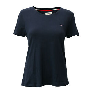 Tommy-Hilfiger-Tommy-Jeans-Damen-T-Shirt-dunkelblau-Gr-S-Kurzarm-Rundhals