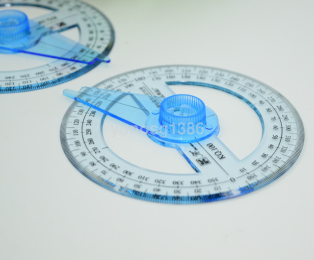 New 10cm 360 Degree Protractor Ruler Angle Finder Swing Arm School Office CA