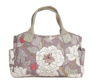 Grey-Tote-Handbag-Bag-Canvas-Handles-Gifts-Floral-Gift-Modern-Flowers-Ladies-New