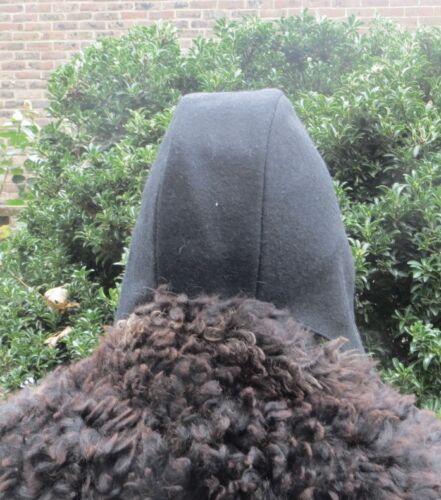 Re-enactment WOOL BLACK LINED MEDIEVAL HAT COIF CAP BONNET REPLICA