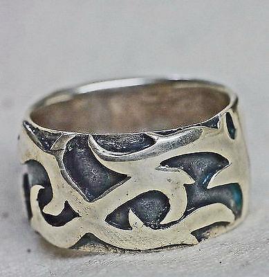 Gehorsam Massiv Tribal Ring 925 Sterling Silber Gr.d19,1mm Entspr. U:60 Handgeschmiedet Tropf-Trocken