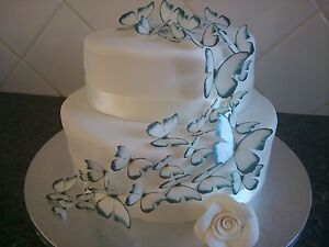42-Mixed-Size-Edible-Butterflies-Wedding-Celebration-Cake-Decoration-Black-White