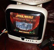 "Vintage 1990'S White MAGNAVOX 9"" CRT Color TV Working Retro Gaming"