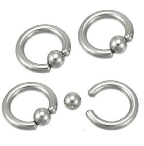 Single Heavy 8g Gauge Captive Ring 9 16 14mm 5mm Ball Ear Lobe