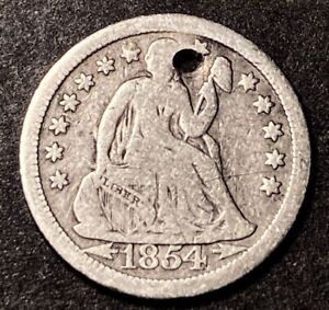 1854 O Seated Liberty Silver Dime 10c Better Date Obsolete Type Coin Holed
