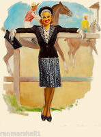 1940s Pin-up Track Girl Horse Race Racing Picture Poster Print Vintage Pin Up