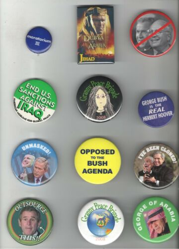 12 old PROGRESSIVE pin LIBERAL LEFT PROTEST PEACE Anti IRAQ VIETNAM WAR