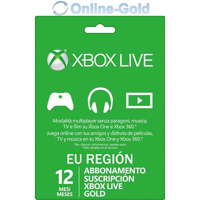 Xbox Live Gold Suscripción 12 Meses código Xbox One 360 Microsoft Tarjeta 1 año