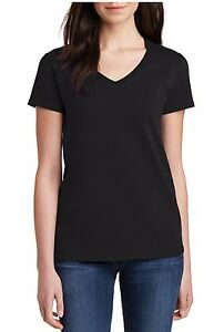 Ladies-V-neck-Gildan-5V00L-Blank-T-Shirt-Plain-Fitted-Women-Tee-Heavy-Cotton