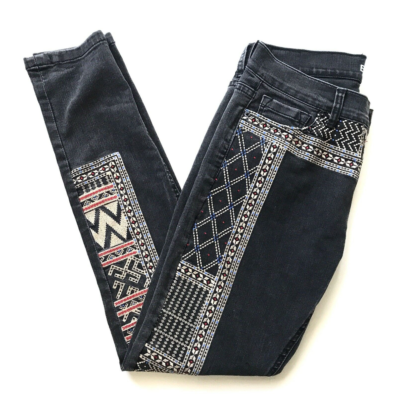 BDG Mid Rise Twig Embroidered High Waist Ankle Jeans Women's Size 27