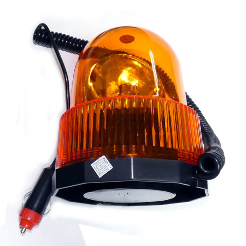12V Magnetic Flashing Amber Beacon Lamp Lorry Car Van Tractor Forklift Digger