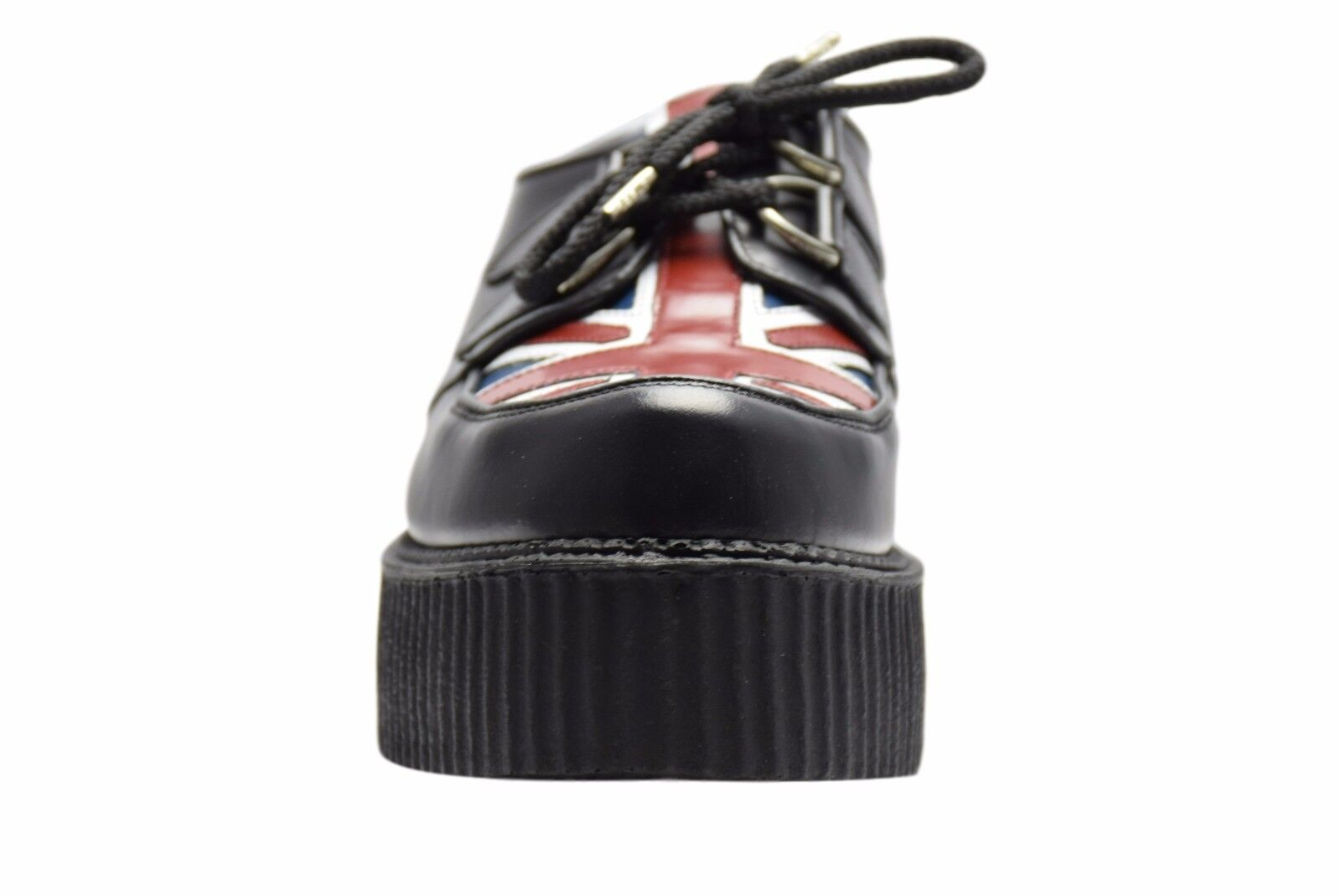 Steel Ground Schuhes schwarz Leder Union Jack Creepers High Sole D Ring Casual