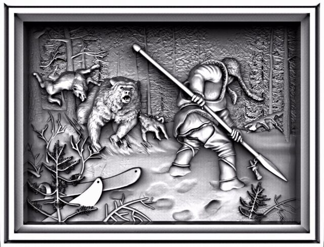 3D STL MODEL RELIEF ARTCAM CNC DECOR PANO HUNTER WITH FORK HIGH QUALITY