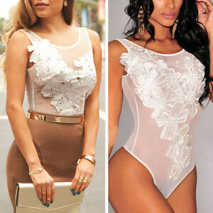 Image is loading Womens-White-Sheer-Mesh-Sleeveless-Party-Bodysuit-Jumpsuit- 350e206cd