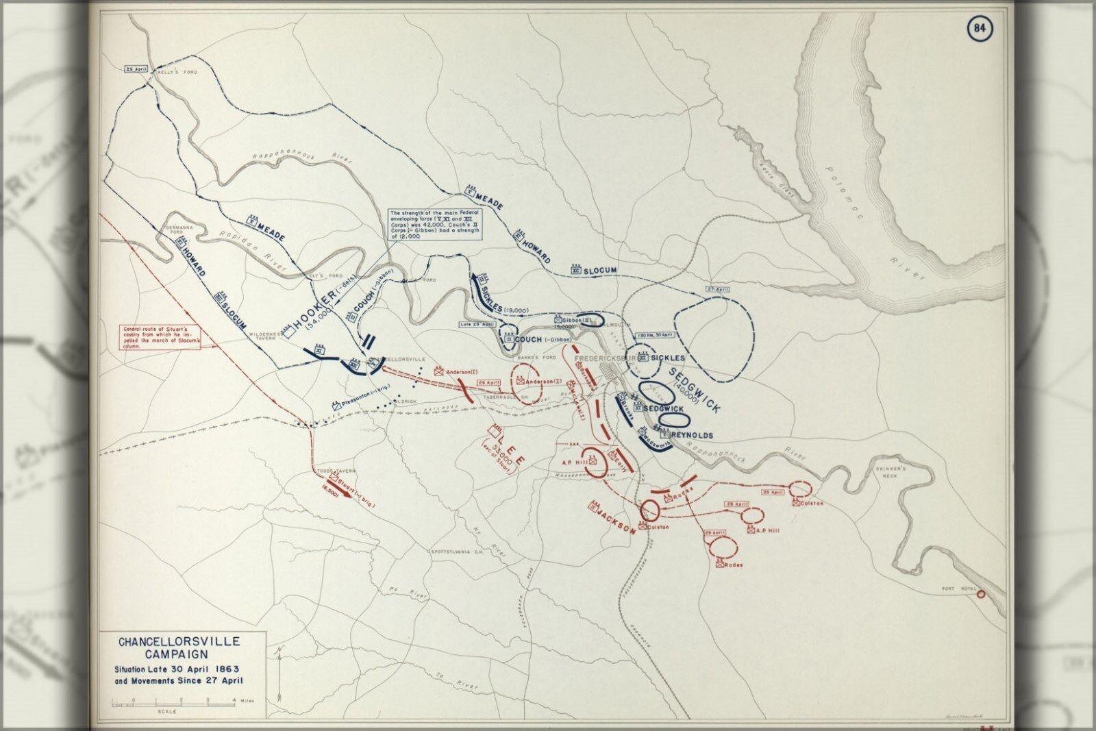 Plakat, Viele Größen; KKunste von Bürgerkrieg Chancellorsville Kampagne, 1863
