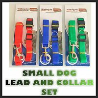Adjustable Small Dog Collar And Lead Set Nylon Fabric Pet Walking Puppy Leash Uk