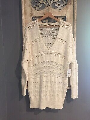 NEW FREE PEOPLE ANGELIC CREW NECK PULLOVER SWEATER SIZE S NWT IVORY COZY