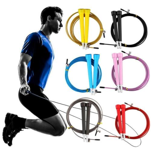Fitness Adjustable Speed Skipping Jumping Rope Boxing Gym CrossFit Steel BG