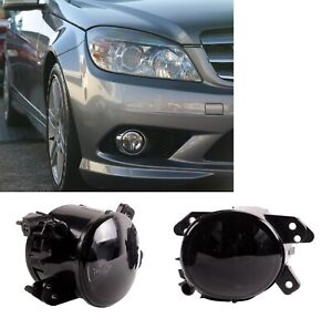 Front-Fog-Lights-Lamps-Set-Pair-Mercedes-W204-2007-2011-AMG-Sport-Crystal-Smoke