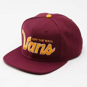 Vans Off The Wall Verdugo Burgundy Gold Adjustable Snapback Cap Hat ... c84f66c32ca