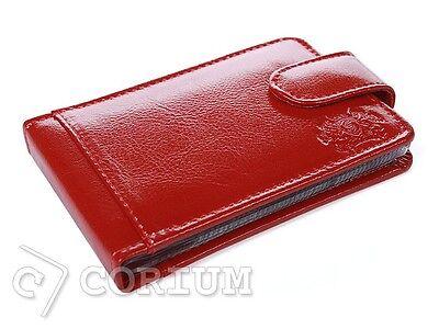 Business Credit & ID Card Holder Bag Pocket Real Leather Case Wallet RED Saccus