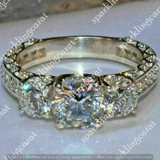 12 CT Square Princess /& Trillion Cut D//VVS1 14k White Gold Over Three Stone Ring