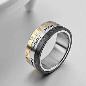 Image Is Loading 8mm Silver Tungsten Spin Tricolor Calendar Wedding Ring