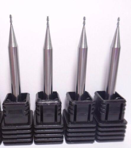 1MM X 50MM 2-FLUTE HRC45 Al /& Cu CTR CUTTING 45° HELIX CARBIDE FLAT ENDMILL 4x