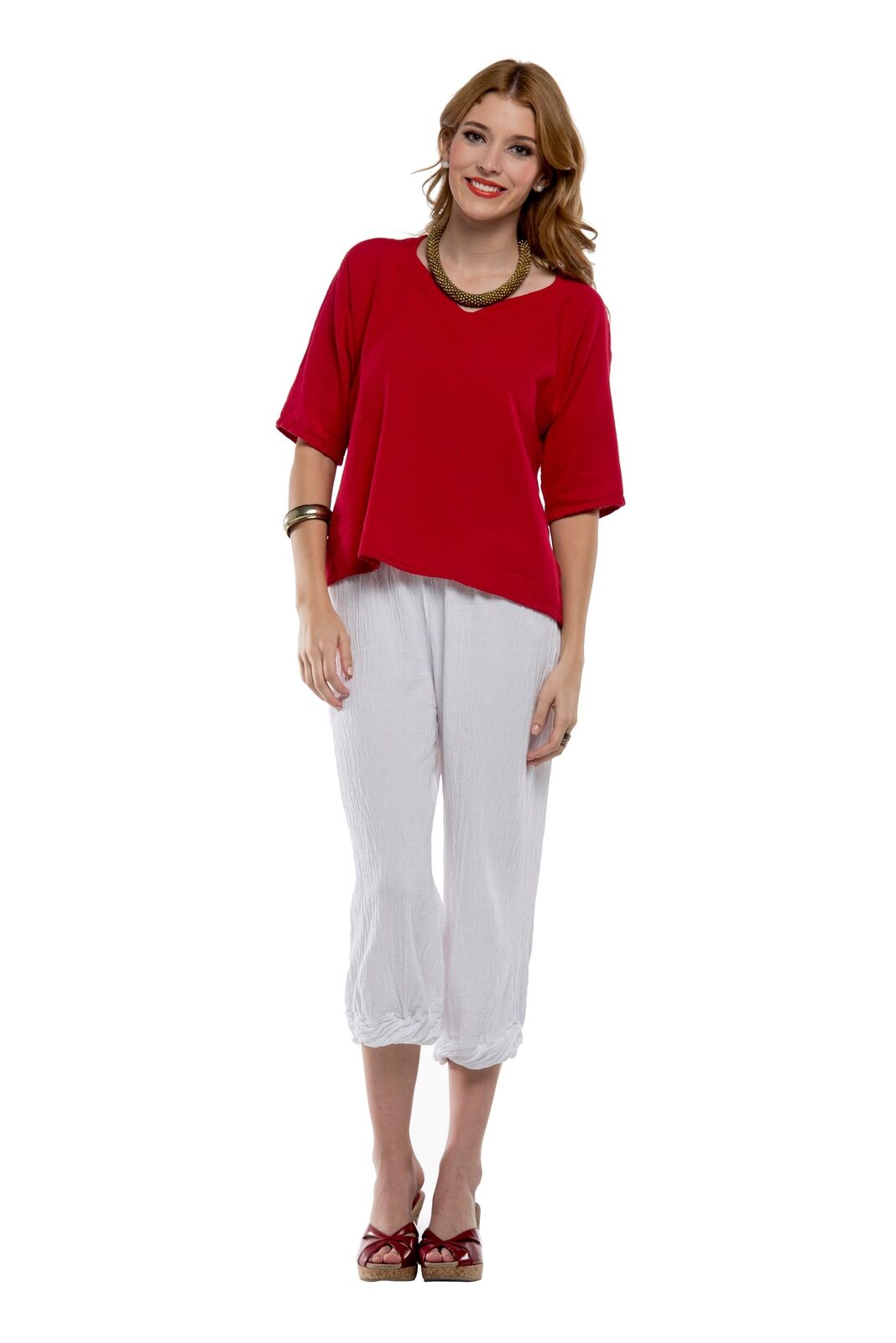 Oh My Gauze Crystal Pant 100% Comfortable Cotton Lagenlook Cropped