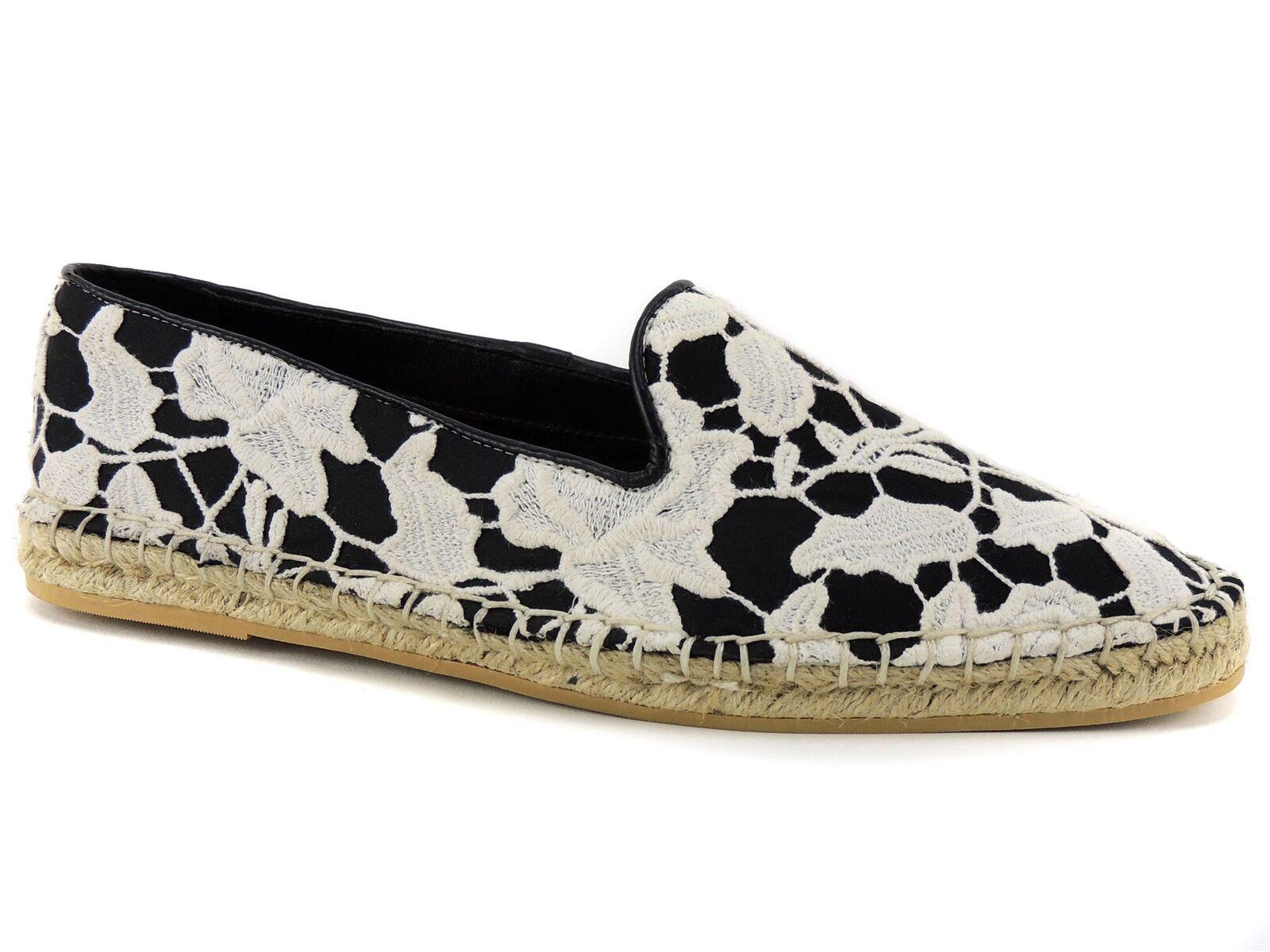 Cole Haan Women's Palmero Slip-On Espadrilles Loafers Black White Lace 8.5 M