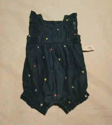 NWT Baby Gap Girls Denim Chambray Heart Embroidered Short Romper One Piece