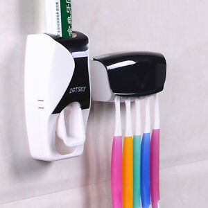 Auto Automatic Toothpaste Dispenser 5 Toothbrush Holder Set Wall Mount Stand