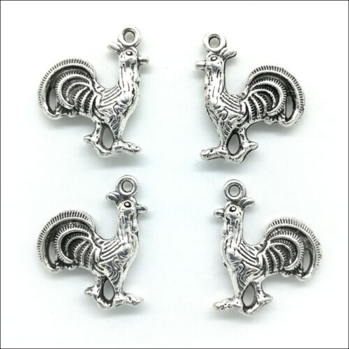 50pcs Cock rooster Antique Silver Charms Pendants For Earring Bracelet Necklace
