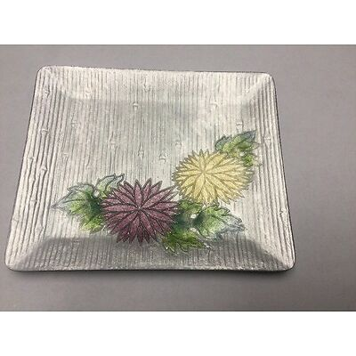 Bonne Couleur Electroforming Cloisonne Silver Floral Trinket Tray Purple Yellow