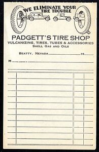 padgett s tire shop shell gas oil 1930 s unused billhead invoice
