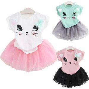enfants-bebes-bebe-fille-tenues-t-shirt-coton-haut-robe-jupe-vetements-2pcs