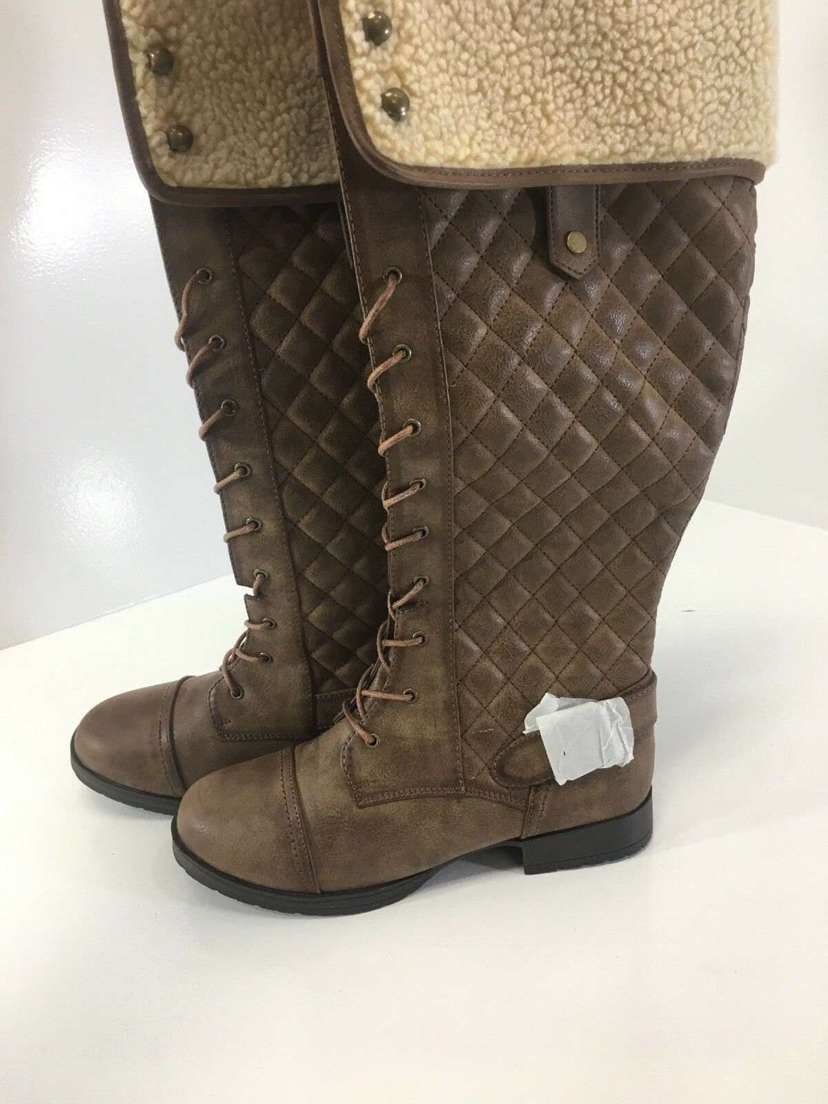 JUSTFAB WOMENS WOMENS WOMENS QUILTED FAUX LEATHER LACE UP KNEE HIGH BOOT BROWN US 8 NEW 3623db