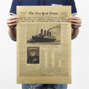 york-time-kraft-paper-bar-poster-retro-historical-moment-poster-wall-sticker-I2
