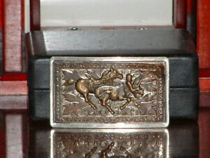 Pre-Owned-Brown-Tone-Rodeo-Bull-Wrestle-Belt-Buckle
