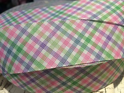 "1.5"" Spring Plaid Grosgrain Ribbon Sold By The Yard"