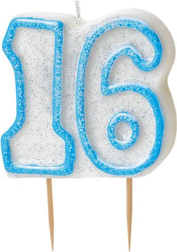 16 Gâteau D/'anniversaire Bougie blue /& white gâteau décorations Doulbe verso