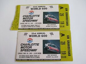 VTG-Charlotte-1982-WORLD-600-Nascar-2-Ticket-Stubs-NEIL-BONNETT-Race-Winner