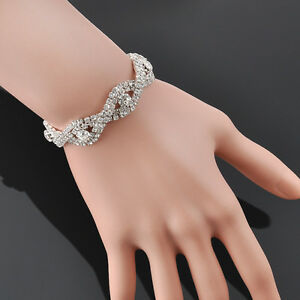 Luxury-Sparkly-Crystal-Charm-Bracelet-Infinity-Rhinestone-Bangle-Women-039-s-Jewelry